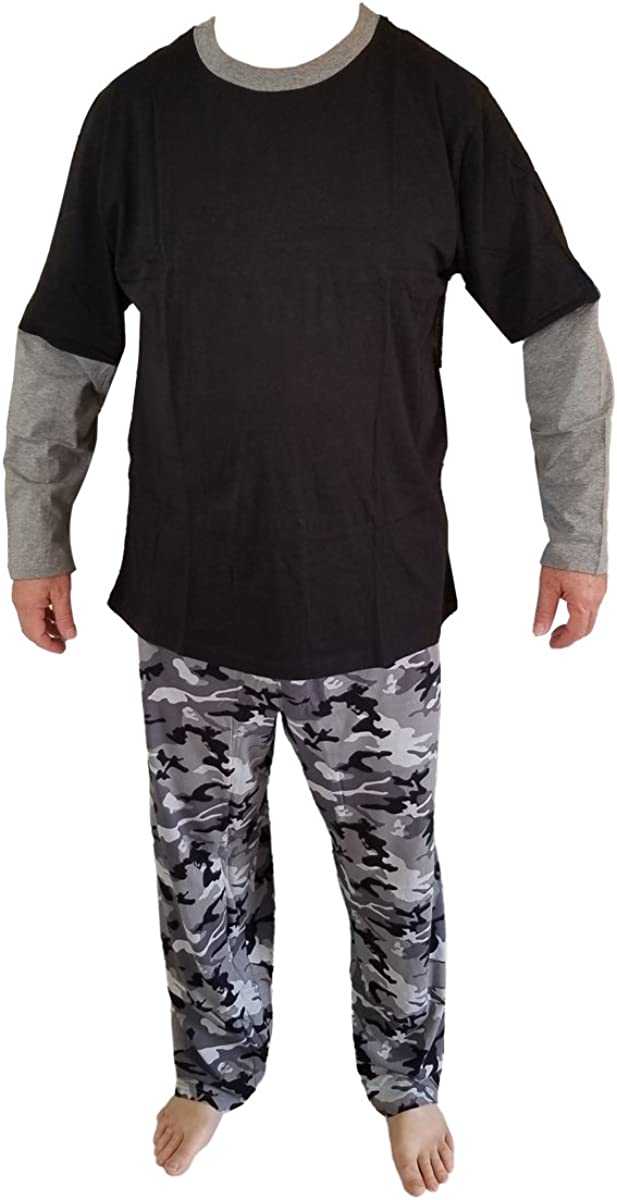 Men's Cotton Pajamas PJ's Sleepwear Lounge Set Long Sleeve Top Pants