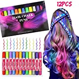 Hair Chalk Set, Buluri 12 Colors Hair Chalk Non-Toxic Chalk Hair Dye Pens Temporary Hair Color for Age 4 5 6 Plus Girls Boys, Perfect Gifts for Birthday Festival (Pink Package)