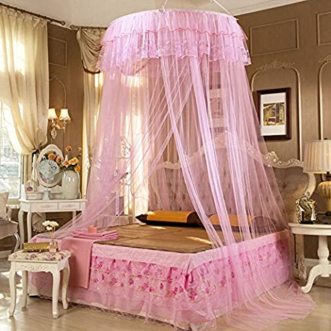 Lucy Fashion Princess Bed Canopy Mosquito Net Netting NEW Bedroom Mesh Curtains (Pink) - Bailey Bedding Canopy Top