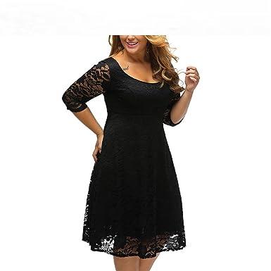 0d4c1a580f78 Image Unavailable. Image not available for. Color: Baqijian Autumn XXXL Plus  Size Dresses Women Lace Dress Midi Floral O-Neck ...
