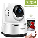 FREDI Wireless WiFi IP Camera, 720P HD Security Camera SurveillanceDome Camera with MotionDetection, IRNightVision, Two-WayAudio, Pan/Tilt, P2P for Baby Monitor Nanny Pet Dog Camera (White)