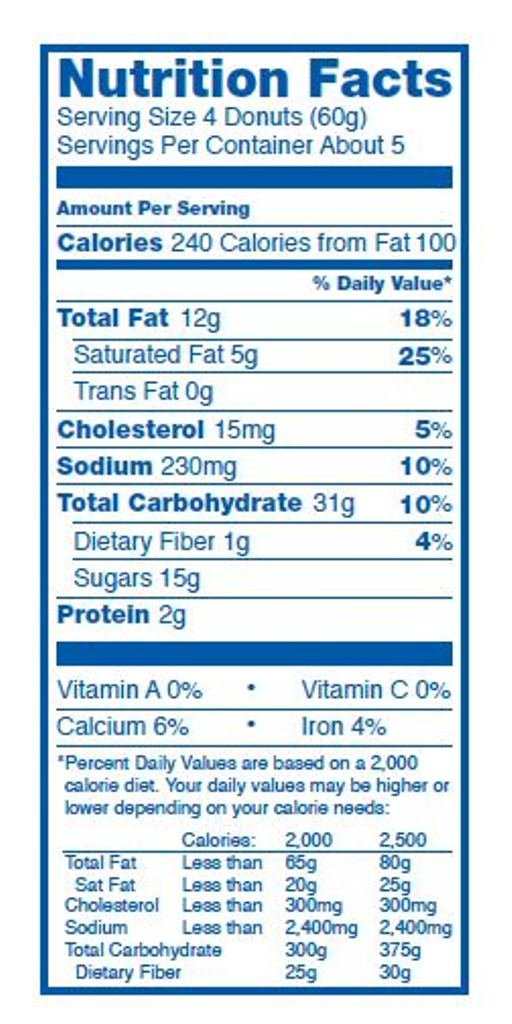 Hostess Chocolate Donettes Nutrition Lable