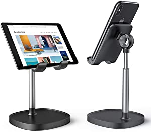 Cell Phone Stand,Angle Height Adjustable LISEN Cell Phone Stand For Desk,Thick Case Friendly Phone Holder Stand For Desk, Compatible with All Mobile Phones