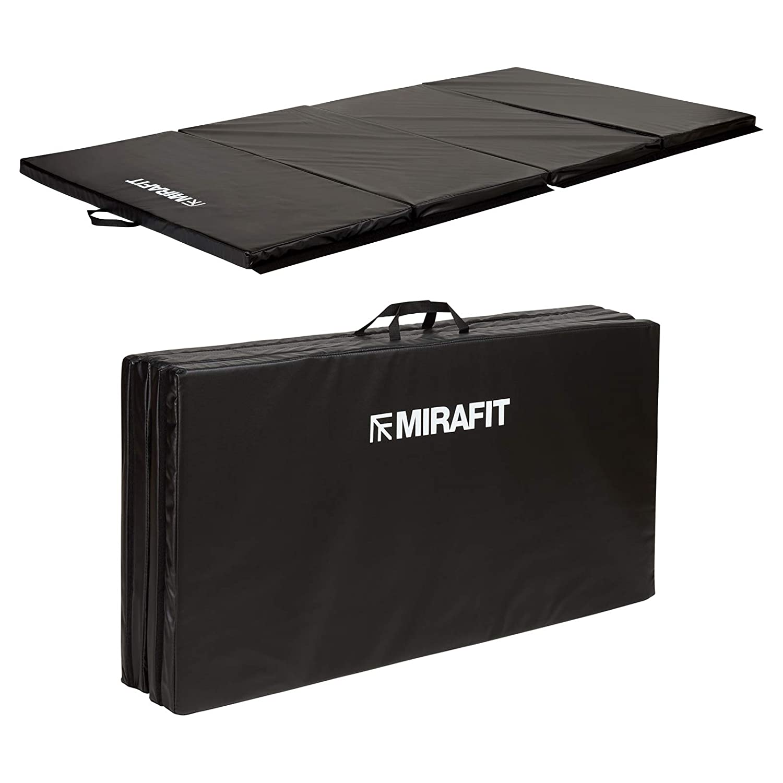 MiraFit große, zusammenklappbare Gymnastik- und Übungsmatte, 243 cm - Schwarz
