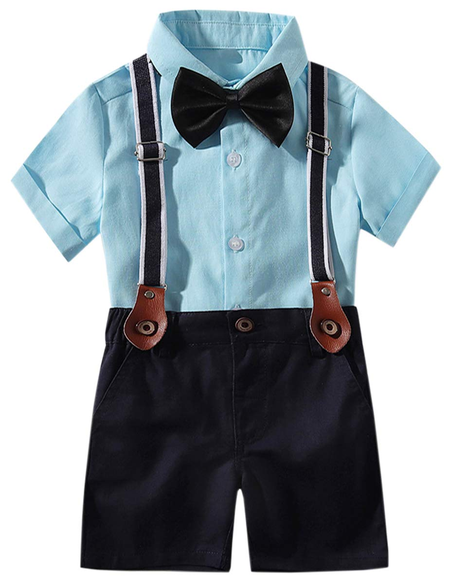 DAIMIDY Baby Boys Summer Clothes, Short Sleeves Button Down Dress Shirt and Suspender Pants Set Tuxedo Gentlemen Outfit with Bow Tie, Blue, 2-3 Years = Tag 100