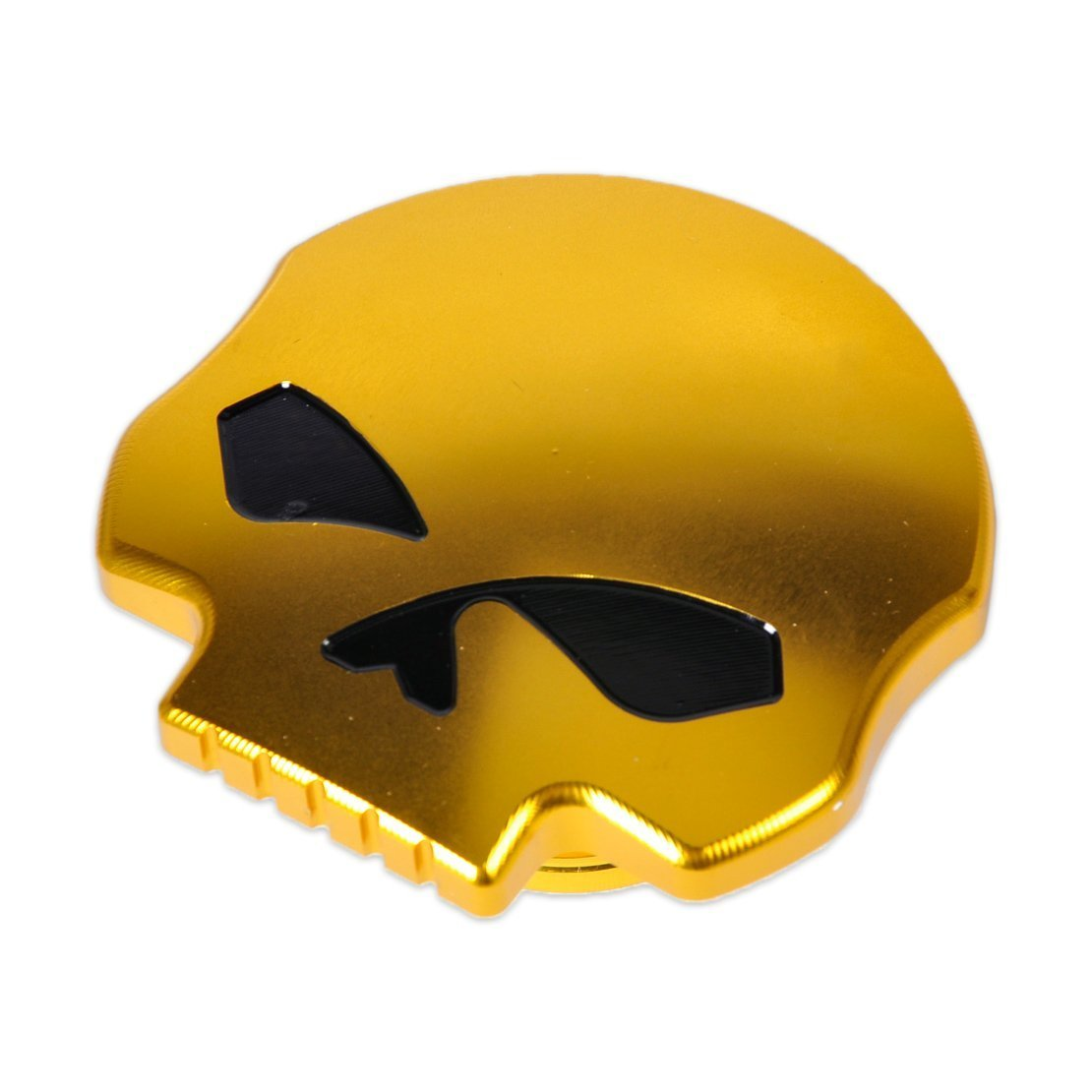 DLLL Motorcycle CNC Aluminum Skull Eye Fuel Gas Tank Oil Cap for Harley Davidson Sportster XL 1200 883 X48 Dyna Softail FXD FL XL FLT Big Twin Touring Road King (Gold) DLLL®