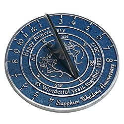 Sapphire Anniversary Sundial Gift Handmade In England By The Metal Foundry Ltd.