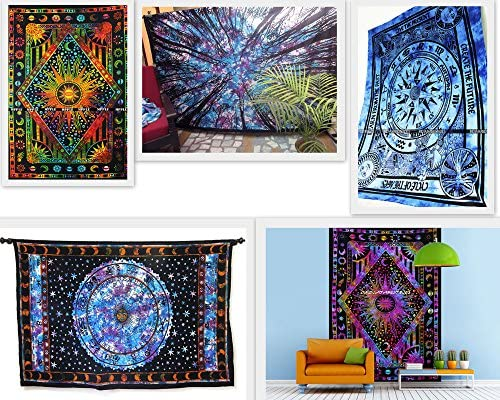 FUTURE HANDMADE Wholesale 5 Twin Tapestry Wholesale Indian Printed Tapestries Mandala Tapestry Wall Hangings Wall Tapestry Jungle Psychedelic Astrology Zodiac Signs Sun Moon Stars Cotton Bedspread