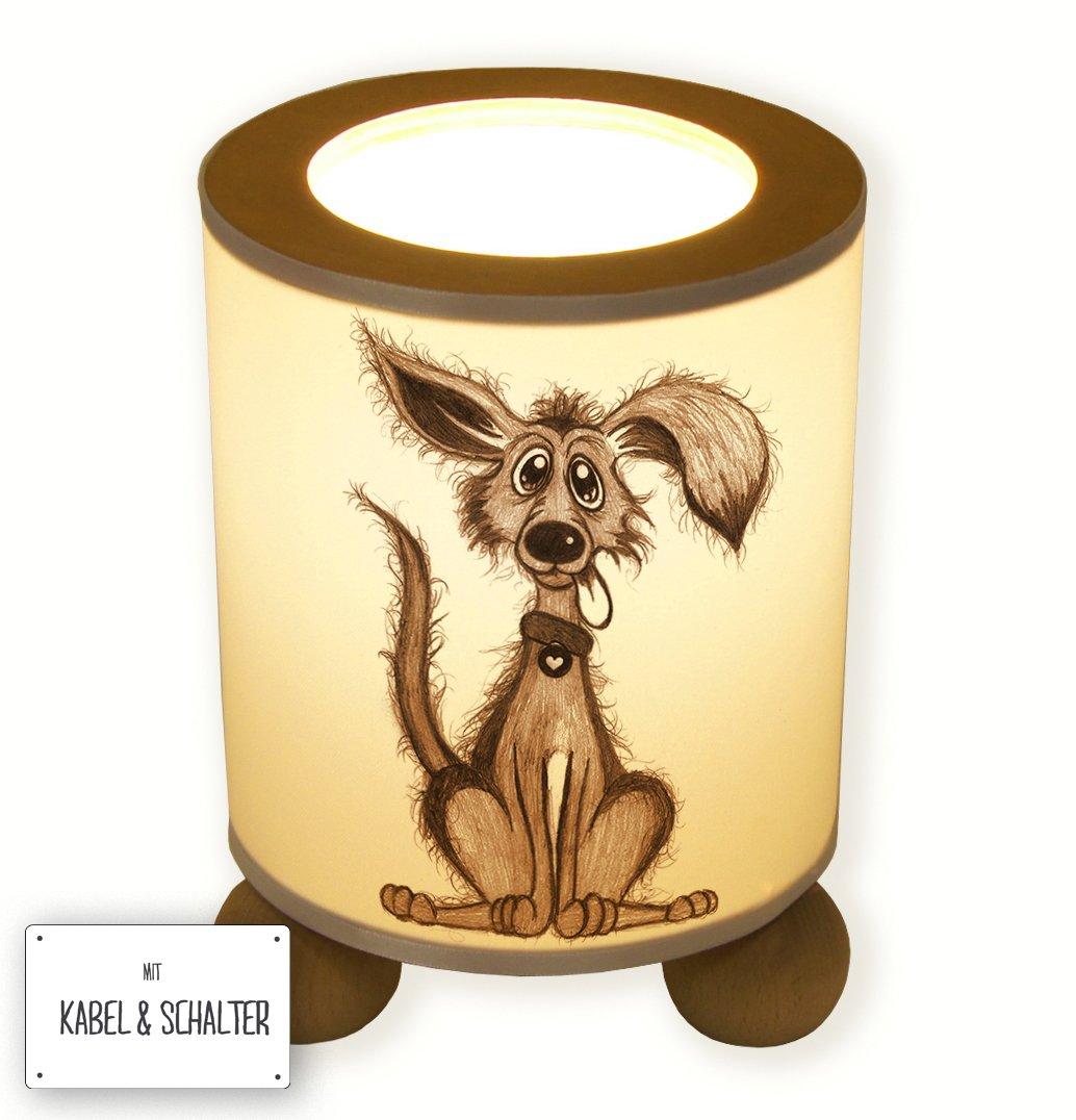 Ilka parey wandtattoo welt Lampe Tischlampe Schlummerlampe Tischleuchte Nachttischlampe mit Schalter Hund Hündchen tl022