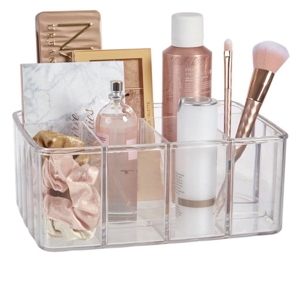 STORi Clear Plastic Vanity Organizer | 5-Compartments
