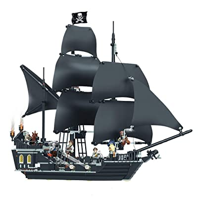 Tritow 1080 Pcs DIY Building Blocks Stacked Kids Toys Caribbean Pirate Bottle Boat Black Pearl Number Adult Difficult to Fight Toy Building Block Model (Size : Black Pearl): Home & Kitchen