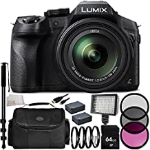 Panasonic Lumix DMC-FZ300 Digital Camera 21PC Accessory Kit Includes 64GB Memory Card + 2 Replacement BLC-12 Batteries + AC/DC Rapid Home & Travel Charger + 160 LED Video Light + Replacement FM500 Battery + 3PC Filter Kit (UV-CPL-FLD) + MORE