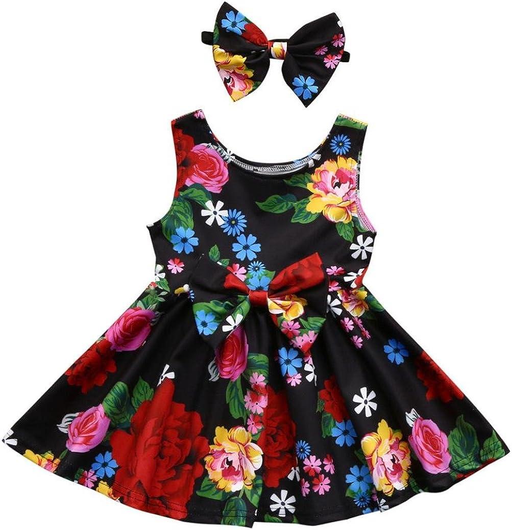 Fartido Kid Baby Girl Sleeveless Floral Bowknot Princess Dress Headband Outfits Clothes