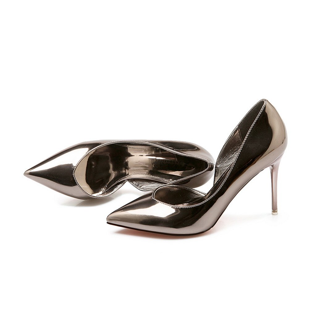 AdeeSu Womens Spikes Stilettos Low-Cut Uppers Pointed-Toe Urethane Pumps Shoes