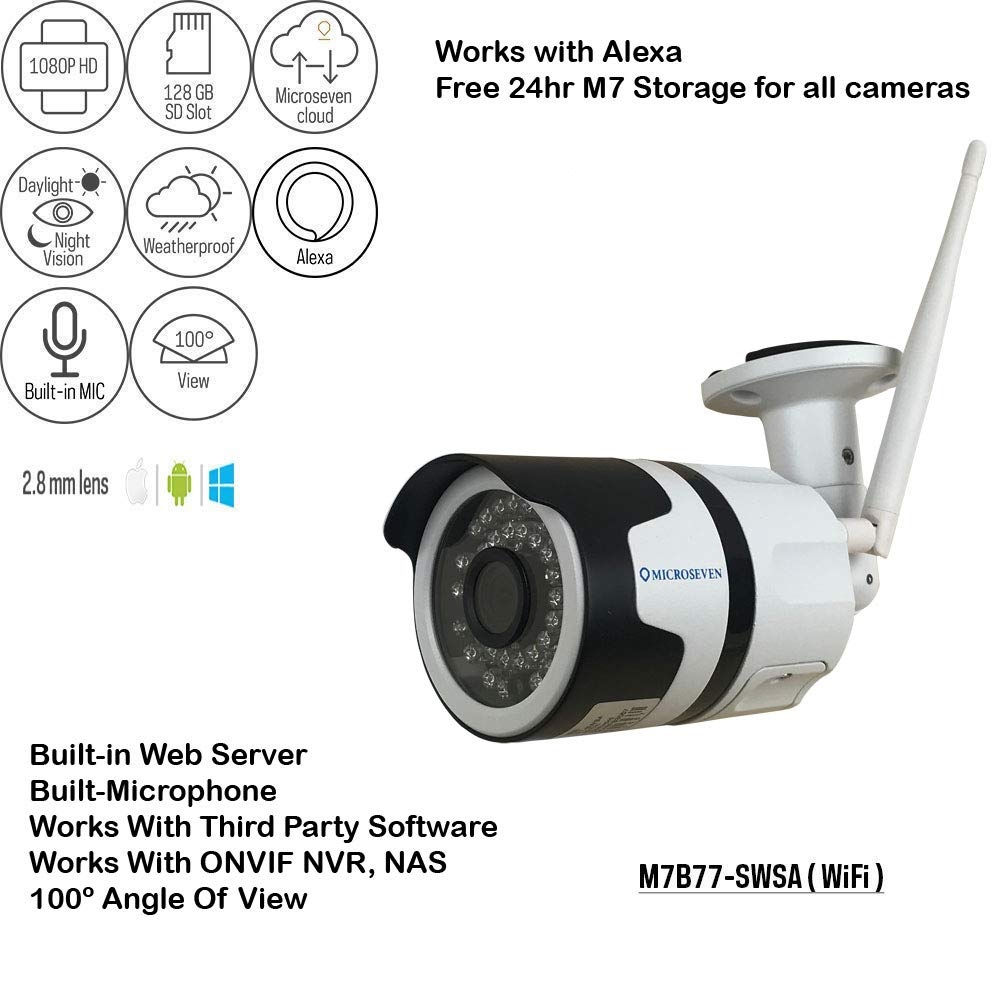 Microseven 1080P Works Alexa HD WiFi IP Camera, Support Max 128GB SD Card, Audio with Built-in Microphone +Free 24Hr Cloud Storage, Wide Angle (100°) IR Outdoor ONVIF, Live Streaming microseven.tv