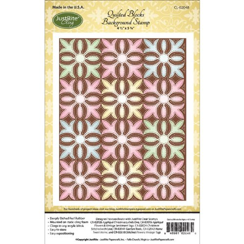 Justrite Cling Background Stamp, 4.5-Inch x 5.75-Inch, Quilted Blocks (Quilted Blocks)