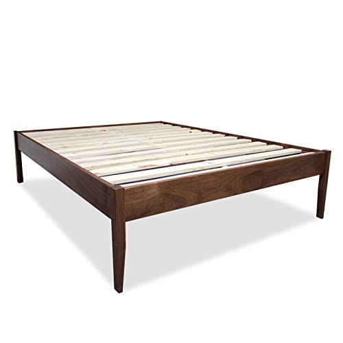 Amazon Com Solid Walnut Mid Century Modern Platform Bed Frame