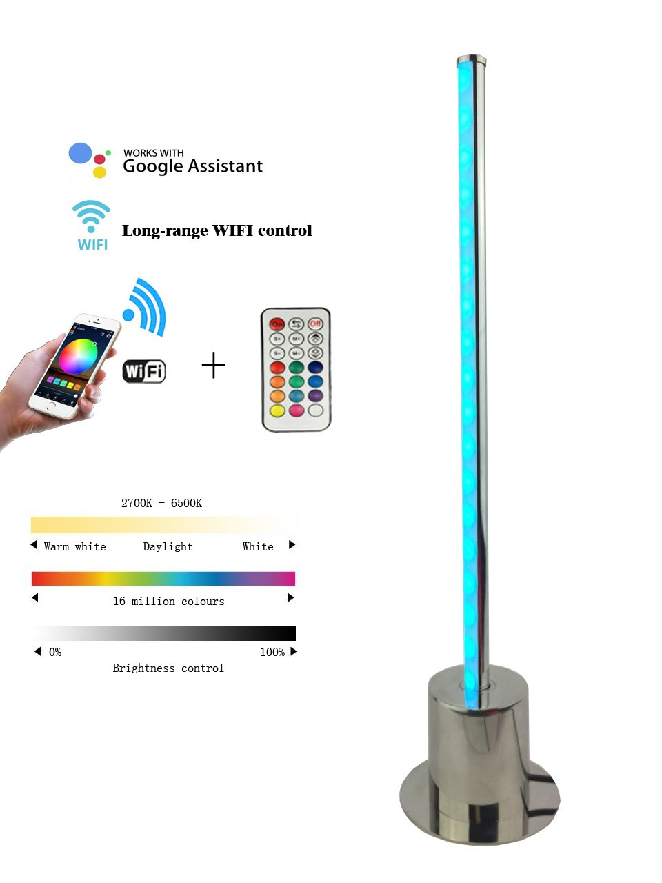 Waved LED Table Lamp, Linear Desk Light,WIFI Smart Color Changing Light, Eye Protection Reading Light,Remote controler and Smartphone Controlled, Stepless Dimmable Light (Linear lamp 17 inches)