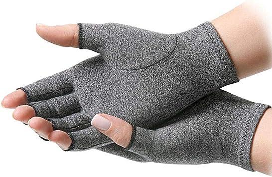 Guantes sin dedos de presión aliviar el dolor (algodón gris elástico ...