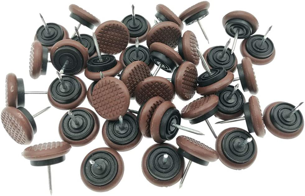 """40pcs Thickened Furniture Chair Glide,Nail-on Nylon Slider Pad Floor Protector for Wooden Leg Feet of Chair Table Sofa(Φ24mm or 15/16"""",Brown)"""