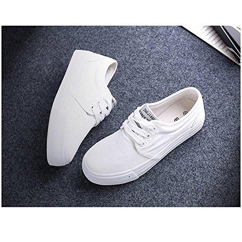 Shenn Mujer Plataforma con cordones Lona Alpargatas Entrenadores Zapatos 23309 Blanco