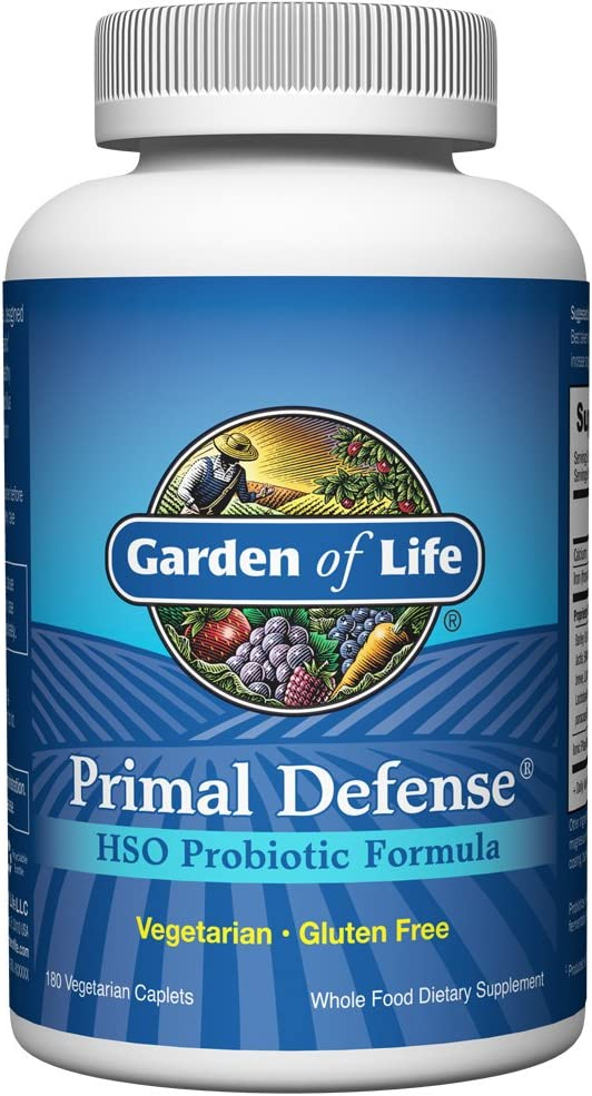 Garden of Life Whole Food Probiotic Supplement - Primal Defense HSO Probiotic Dietary Supplement for Digestive and Gut Health, Shelf Stable, 180 Vegetarian Caplets