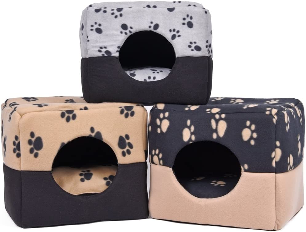 PAWZ Road 2-in-1 Pet Bed for Cats and Small Medium Dogs Warm and Soft Cat Cube Kitten Cave House Fun Paw Prints,Brown M 16x14.2x15