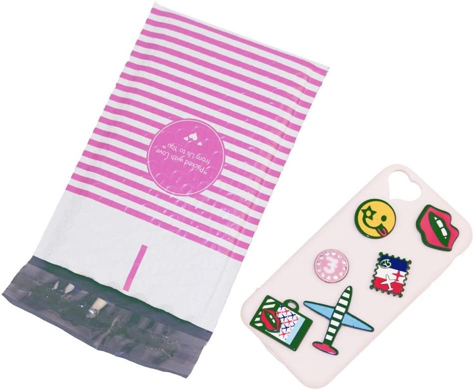 BESTeck #000 Pink Stripe Packed with Love from Us to You Poly Bubble Mailers 4x8 Padded Envelopes 50pcs