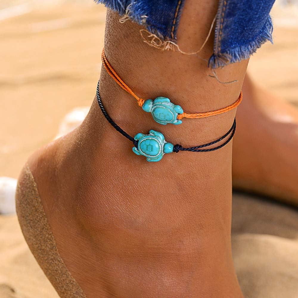 Jeka 8Pcs Waterproof Sea Turtle Anklets for Women Men Rope Friendship Handmade Adjustable Boho Beach Jewelry Gifts