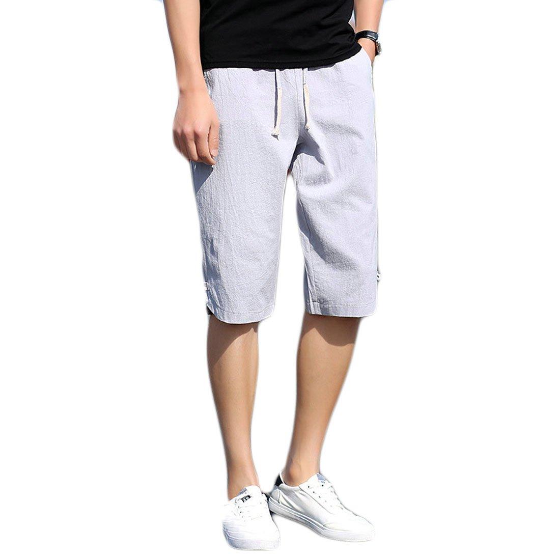 Fensajomon Men Summer Ventilation Casual Cropped Pants Cotton Linen Beach Shorts Boardshort Swim Trunk