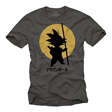6cae892b MAKAYA Son Goku T-Shirt for Men - Vegeta Siyan Kame Dragonball Grey Size S