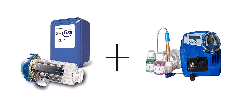 Gre SCGPH100 - Clorador Salino + Controlador de pH, para Piscinas de hasta 90 m3, 21 gramos/hora: Amazon.es: Jardín