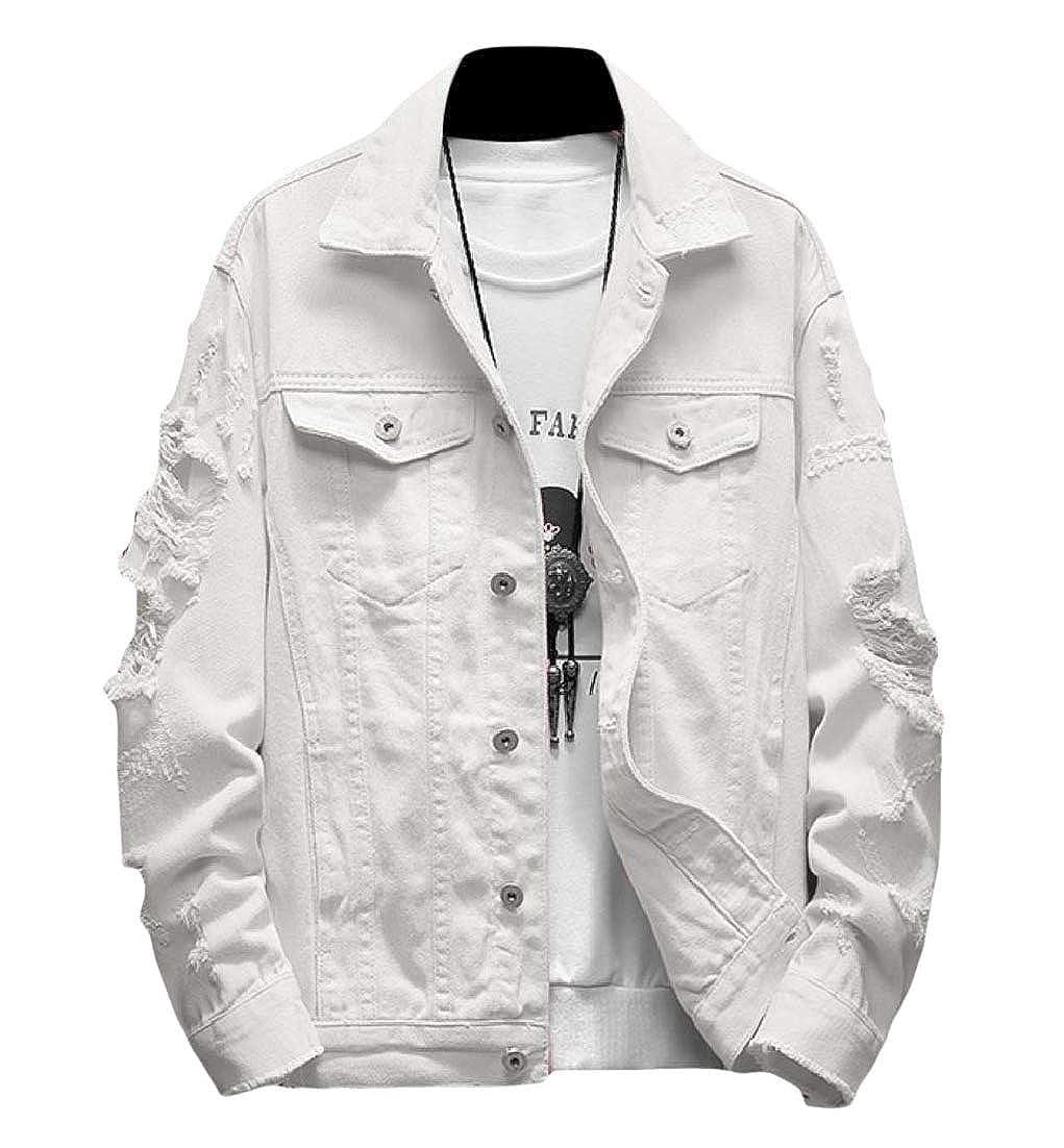 White Doanpa Men Loose Hole Raw Hem TurnDown Collar Button Denim Jacket Outwear