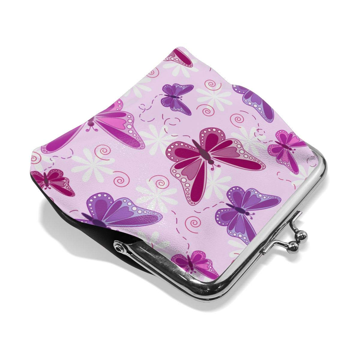Flying Butterflies In Shades Of Pinks And Purple Coin Purses Vintage Pouch Kiss-lock Change Purse Wallets