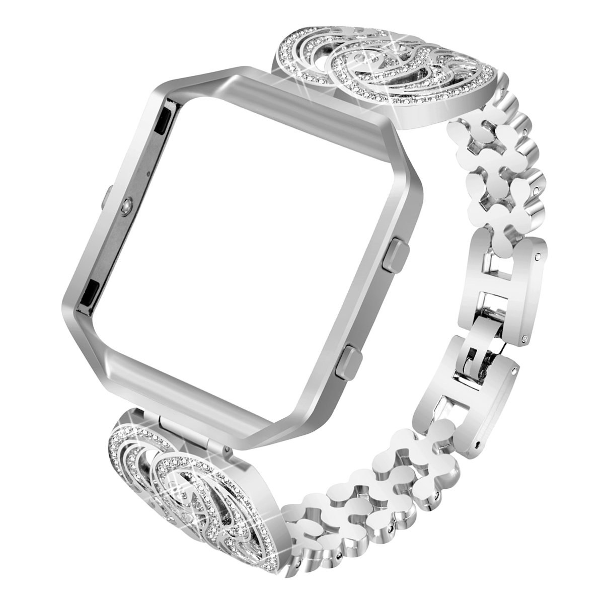 shop apple bargains silver on white for rhinestone buckle clasp with faux bling strap etsy wrap adapter bands studded kayliefrycreative double watch band iwatch and leather