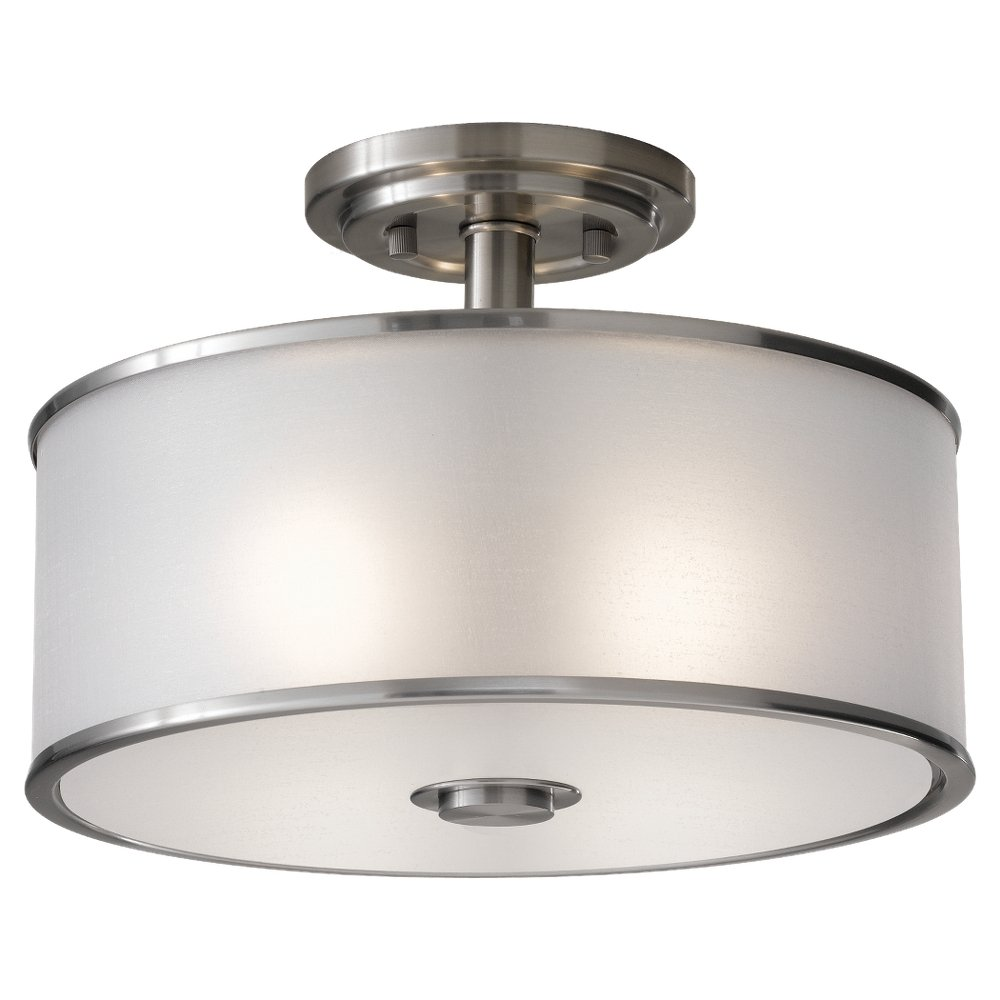 murray feiss sf251bs casual luxury 2 light indoor semiflush mount brushed steel semi flush mount ceiling light fixtures amazoncom - Semi Flush Mount Lighting