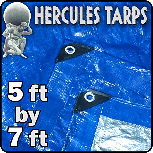 5' x 7' - Tent Shelter Tarp Cover Waterproof Tarpaulin Plastic Tarp Protection Sheet for Contractors, Campers, Painters, Farmers, Boats, Motorcycles, Hay Bales - Hercules Tarp - Blue/Silver