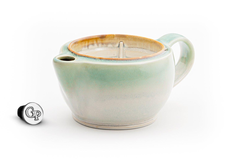 Georgetown Pottery G12 Shaving Scuttle Mug - Ivory & Green Oribe by Georgetown Pottery