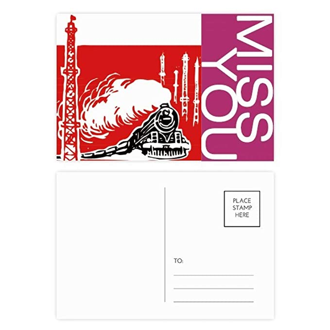 China Train Tower Steam Red Miss Postcard Set Thanks Card ...