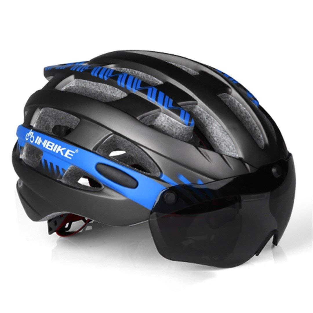 サイクリング自転車用ヘルメット ゴーグルサイクリングヘルメットロード自転車ヘルメットプロフェッショナルマウンテンレーシングバイクインモールド安全キャップ男性女性ciclismo スポーツ用保護ヘルメット (色 : L blue 1 lens) B07MC73WKX