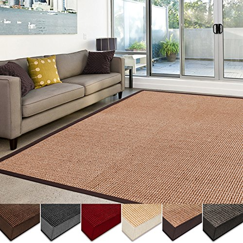 casa pura Sisal Rug   100% Natural Fiber Area Rug   Non-Skid Eco-Friendly Throw Carpet for Entryway, Dining or Living Room   Various Colors and Sizes   Cork - (Room Carpet)