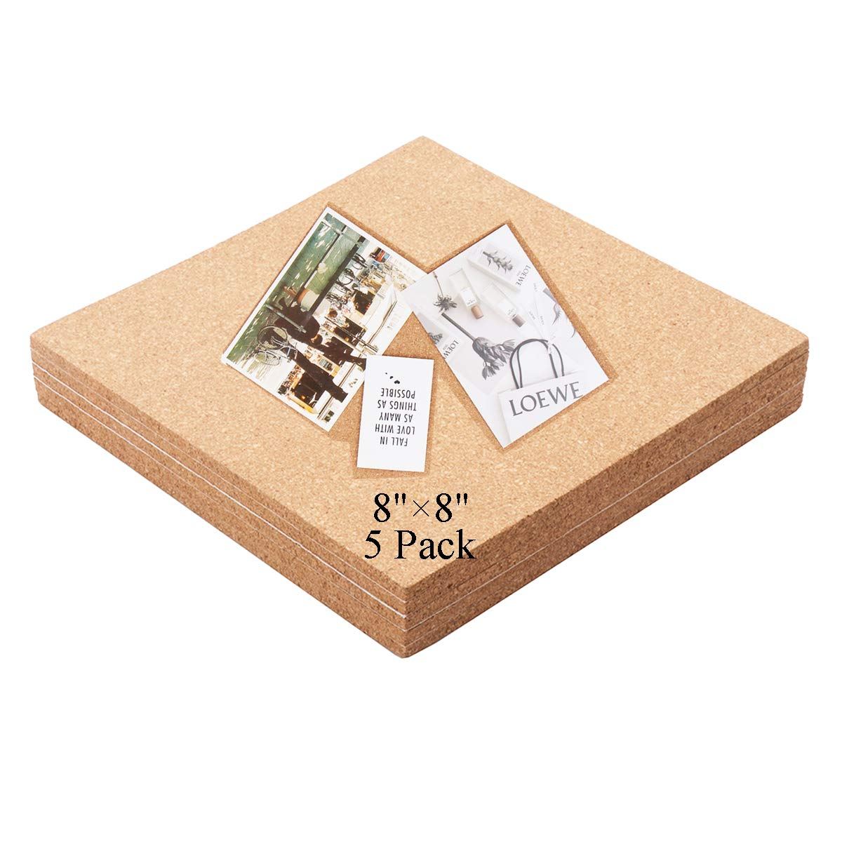 Premium Cork Tiles 8''x8'' - 1/4'' Thick -Self-Adhesive Sticker Cork Board Wall Art Idea - Bulletin Board - Mini Wall - Ultra Strong Self Adhesive Backing - 5 Pack
