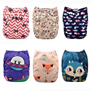 ALVABABY New Design Reuseable Washable Pocket Cloth Diaper 6 Nappies + 12 Inserts 6DM25
