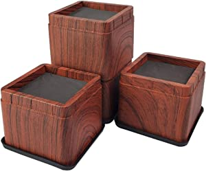 miixhoom 4 Pack Bed Risers Heavy Duty Dark Wooden Color| Square Elevator up to 3 INCH Per Riser | Furniture Risers Durable/Stackable