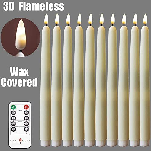 10Pack Flameless Taper Candle,Ivory WAX Coverd, 11-Inch, for Candle Holders and Candlesticks,for Wedding ,Patry,Hotel ,Windows Candles