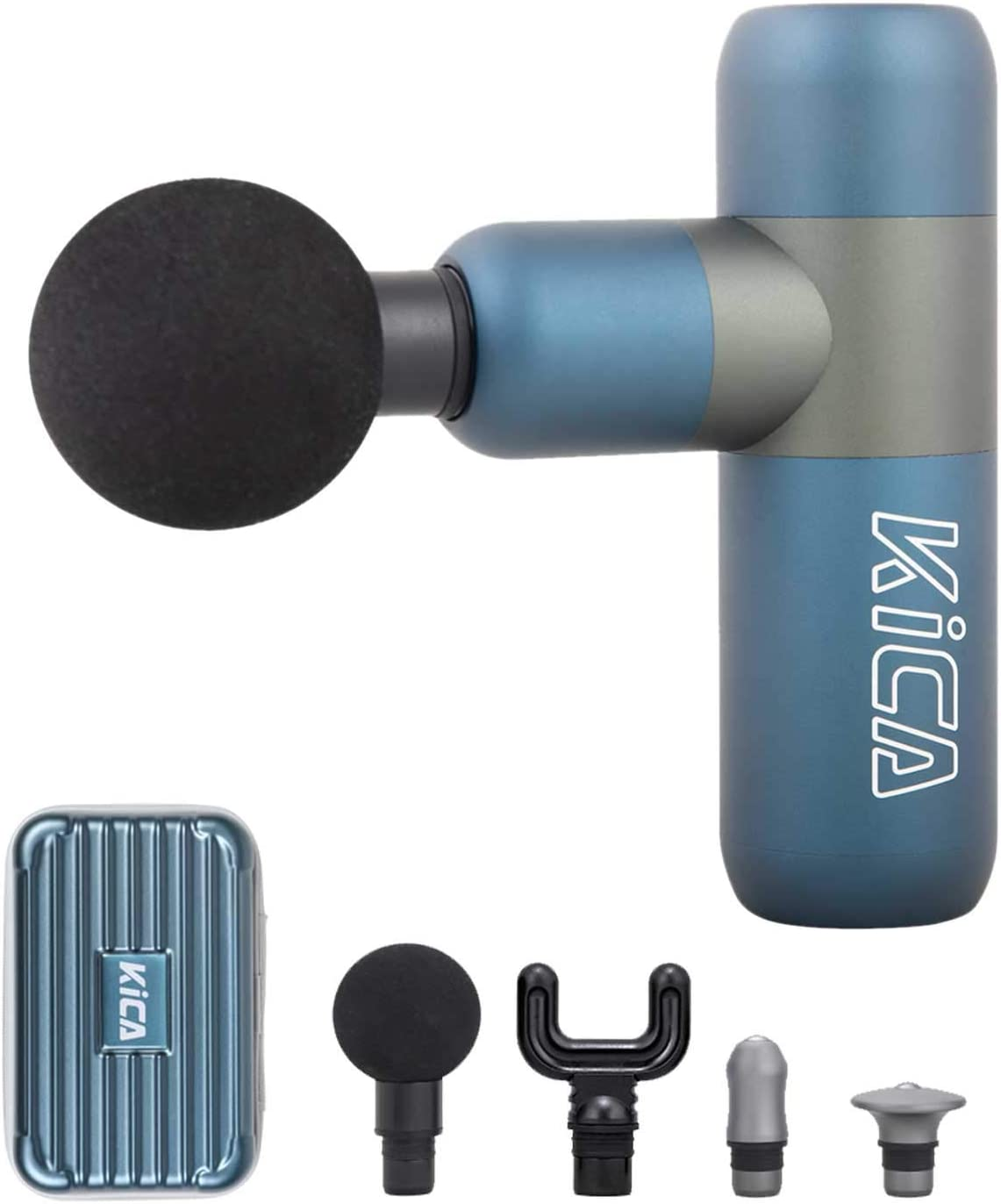 KICAK2 Pistola de masaje Masajeador muscular de percusión de tejido profundo Masajeador eléctrico de mano para aliviar Atleta muscular 4 cabezales de masaje con estuche de transporte