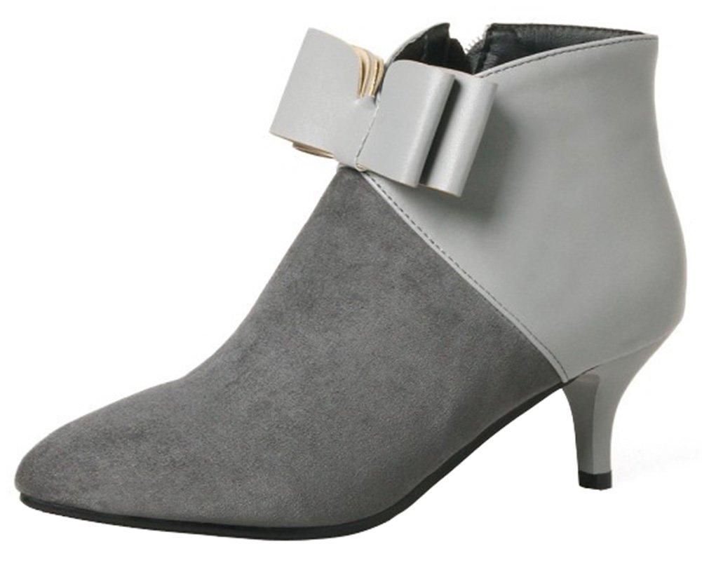 Mofri Women's Dressy Bowknot Side Zipper Short Boots Color Block Splicing Pointed Toe Kitten Heel Ankle Booties (Gray, 10.5 B(M) US)