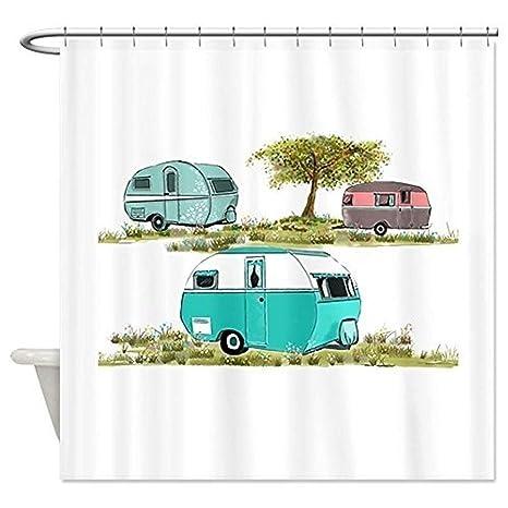 Bathroom Curtain Decoration Antique Travel Trailer Shower 48x72 In