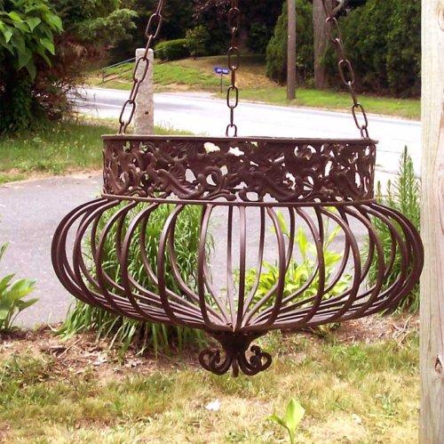 Amazon.com: Set Of 3 Victorian Hanging Planters Wrought Iron Rust: Garden U0026  Outdoor