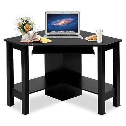 Compact Home Office Desk To Tangkula Corner Desk Computer Wood Compact Home Office Laptop Pc Amazoncom